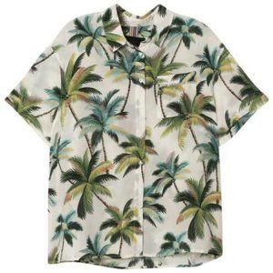 SZ 6 Le Superbe Tropicana Silk Shirt Beach Palms